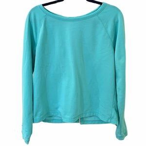 Teal Open Back Pullover Fleece